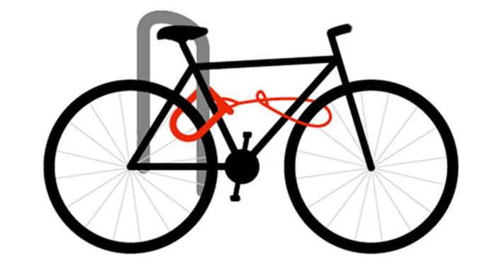 forma correta de prender uma bicicleta com cadeados